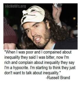 Russell Brand told the marchers there will be a 'peaceful, effortless, joyful revolution' against austerity in the UK