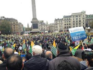 Thousands Out At Trafalgar Square LONDON For Free Kashmir